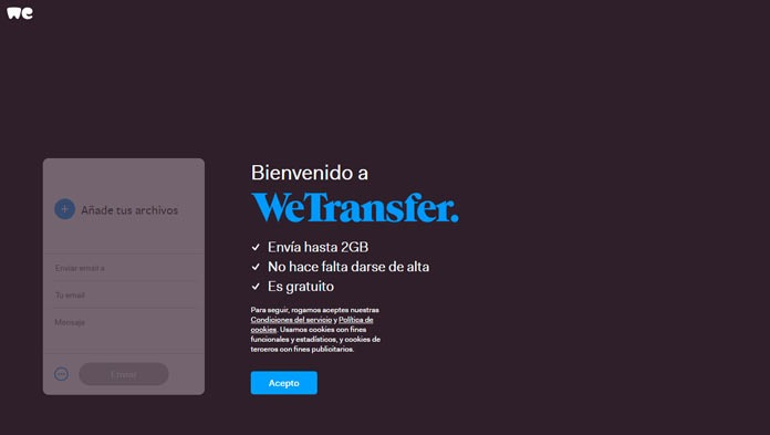 pantalla de terminos y condiciones we transfer