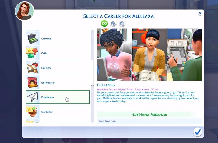 Elige ser un freelancer en los Sims 4